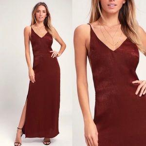 Silk burgundy backless dress